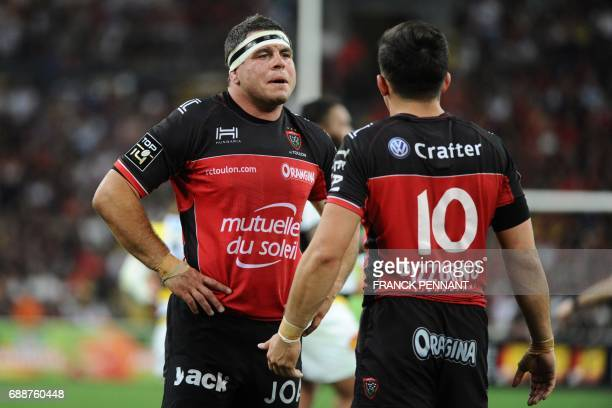 RC Toulon's French hooker Guilhem Guirado speaks with RC Toulon's French flyhalf Anthony Belleau during the French Top 14 rugby union match between...