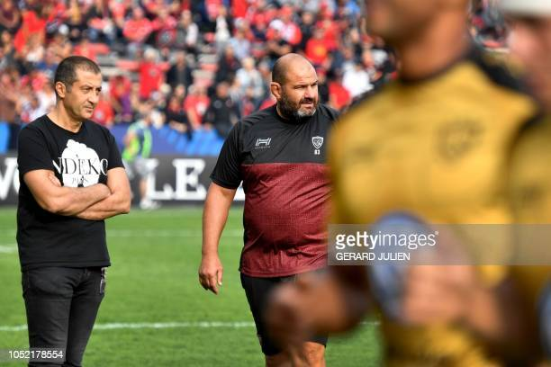 Toulon's French president Mourad Boudjellal and French coach Patrice Collazo look on before the European Champions Cup rugby union match between...