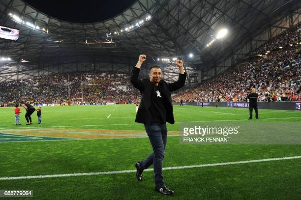 Toulon's French president Mourad Boudjellal celebrates after RC Toulon's won the French Top 14 rugby union match between RC Toulon and La Rochelle,...