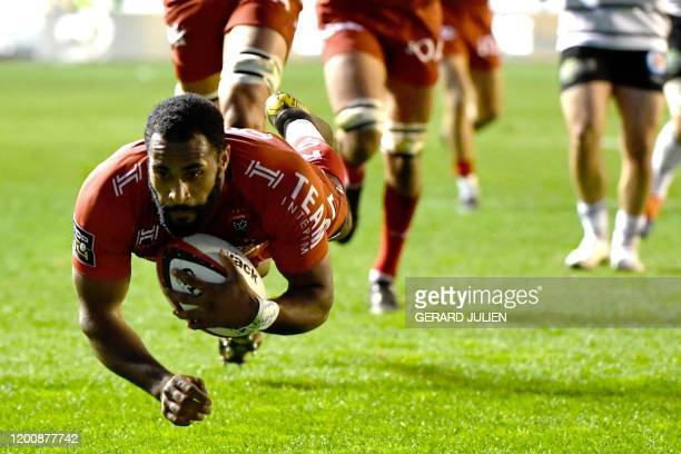 Toulon's French wing Daniel Ikpefan scores a try during the French Top 14 rugby union match between RC Toulon and Brive on February 15 at the Mayol...