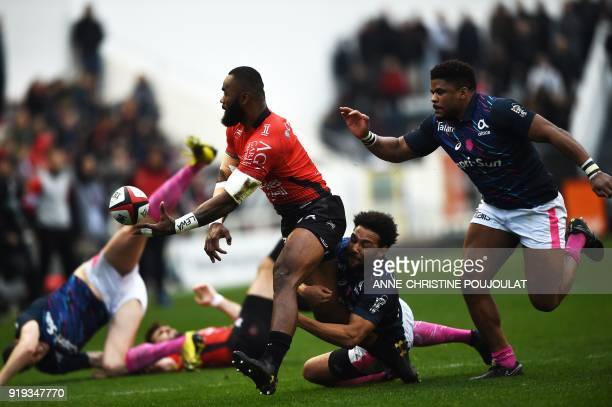 RC Toulon's Semi Radradra vies with Stade Français's Jimmy Yobo during the French Top 14 rugby union match Toulon vs Stade Français at The Mayol...