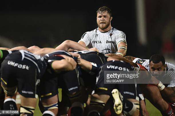 Toulon's South African Number Eight Duane Vermeulen looks on during a scrum during the European Rugby Champions Cup rugby union round 2 match between...