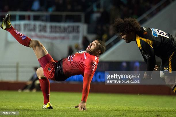 RC Toulon's South African wing Bryan Habana vies with Wasps' hooker Ashley Johnson during the European Champions Cup rugby union match RC Toulon vs...