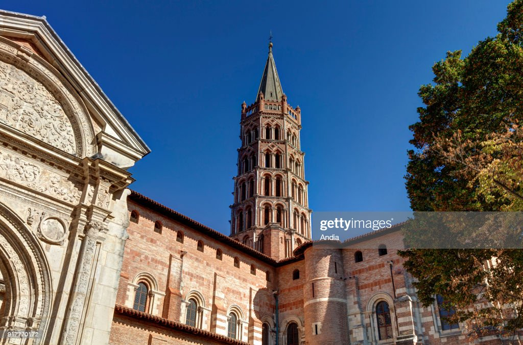 Basilica of Saint-Sernin, registered as a UNESCO World Heritage Site under the description: World Heritage Sites of the Routes of Santiago de Compostela in France. Octagonal Church Tower.
