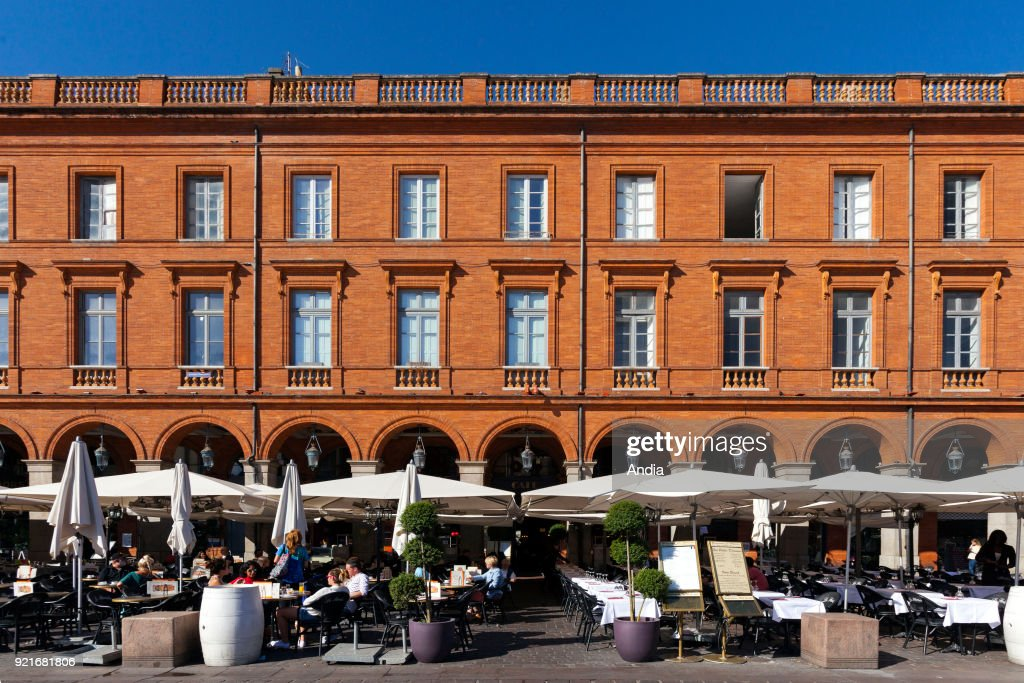 cafe terraces in 'place du Capitole' square in the city centre.