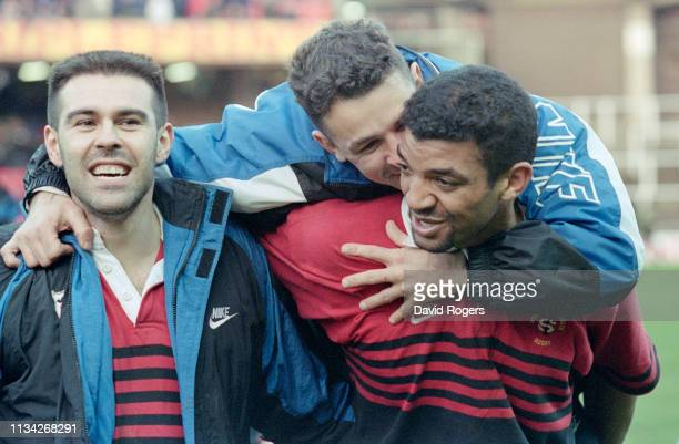 Toulouse Captain Emile Ntamack is congratulated by team mates after victory in the 1996 Heineken Cup Final between Cardiff and Toulouse at Cardiff...