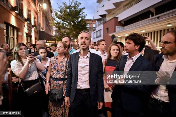 "Toulouse city hall candidate of the ""Archipel Citoyen"" electoral list, Antoine Maurice, of the Europe Ecologie - Les Verts green party, speaks to the..."
