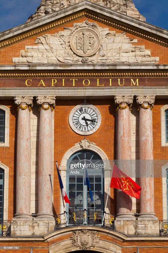 City Hall in 'place du Capitole' square, in the city centre. Inscription: Capitolium.