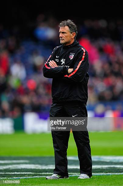 Toulouse coach Guy Noves looks on before the Heineken Cup Quarter Final between Edinburgh and Toulouse at Murrayfield Stadium on April 7 2012 in...