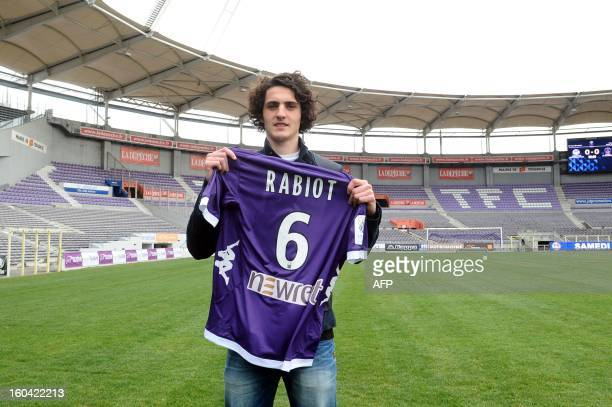 Toulouse football club new player French Adrien Rabiot poses with his new jersey on January 31 2013 in Toulouse Rabiot will play with Toulouse until...