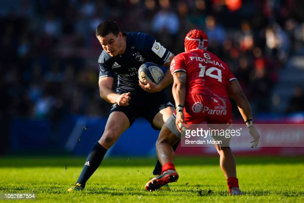 Toulouse France 21 October 2018 Jonathan Sexton of Leinster is tackled by Cheslin Kolbe of Toulouse during the Heineken Champions Cup Pool 1 Round 2...