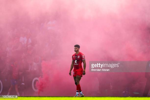 Toulouse France 21 October 2018 Romain Ntamack of Toulouse waits for the prematch smoke to be cleared during the Heineken Champions Cup Round Pool 1...