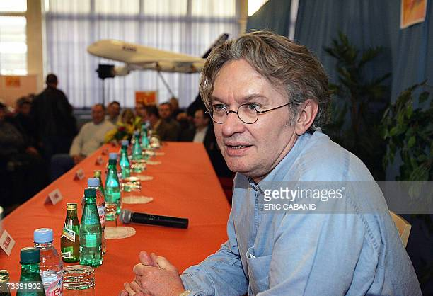 French tradeunion FO leader JeanClaude Mailly attends a general assembly with European aircraft manufacturer Airbus' workers 22 February 2007 at...
