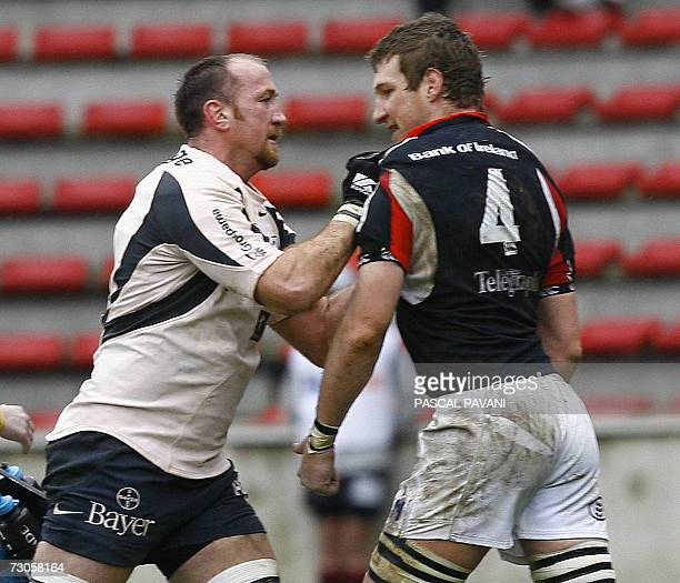 Toulouse's Irish player Trevor Brennan punches Ulster's lock Justin Harrison during the European cup rugby union match Toulouse vs. Ulster , 21...