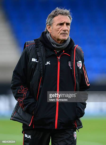 Toulouse head coach Guy Noves during the European Rugby Champions Cup Pool 4 match between Glasgow Warriors and Toulouse at Scotstoun Stadium on...