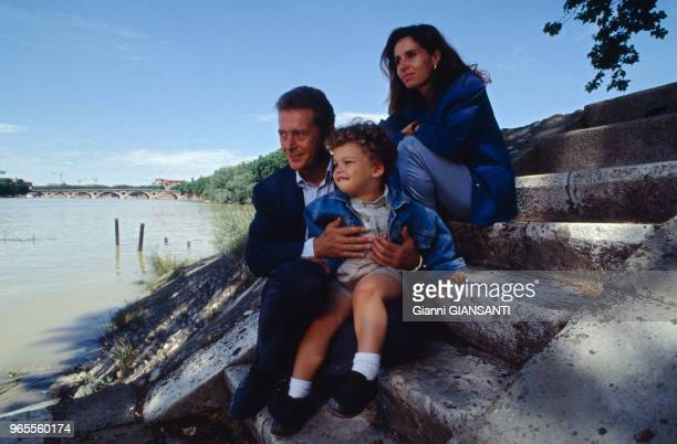 Toulouse Mayor Dominique Baudis with his wife Ysabel and their son on the banks of the Garonne river on May 21 Toulouse, France.