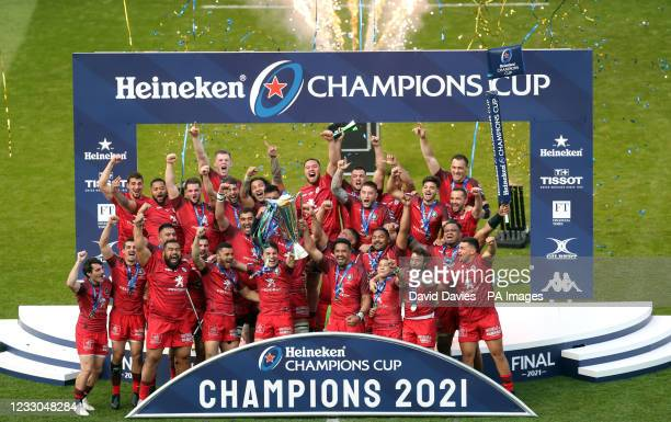 Toulouse players lift the trophy after the final whistle during the Heineken Champions Cup final match at Twickenham Stadium, London. Picture date:...