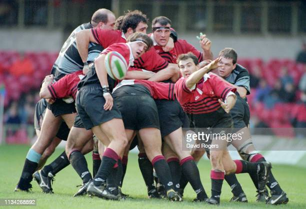 Toulouse Try scorer Jerome Cazalbou passes the ball out from a scrum during the 1996 Heineken Cup Final between Cardiff and Toulouse at Cardiff Arms...