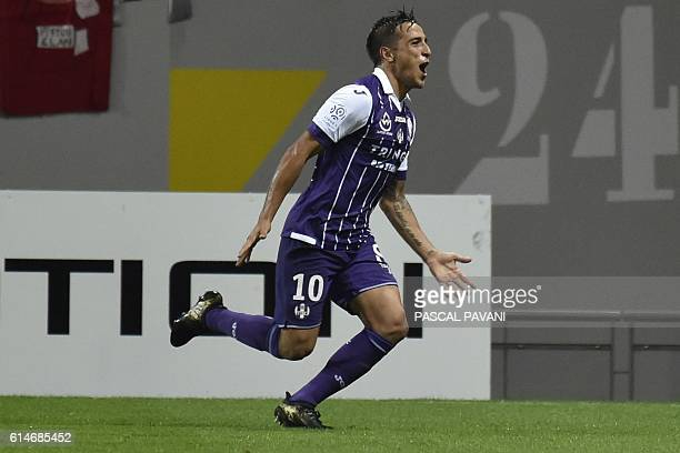 Toulouse's Argentinian midfielder Oscar Trejo celebrates after scoring a goal during the French L1 football match Toulouse vs Monaco on October 14...
