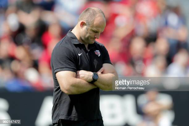 Toulouse's assistant coach William Servat looks on before the French Top 14 match between Stade Toulousain and Castres at Stade Ernest Wallon on May...