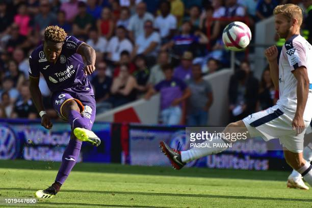 Toulouse's Belgian forward Aaron Leya Iseka scores during the French L1 football match Toulouse vs Bordeaux at the Municipal Stadium in Toulouse...