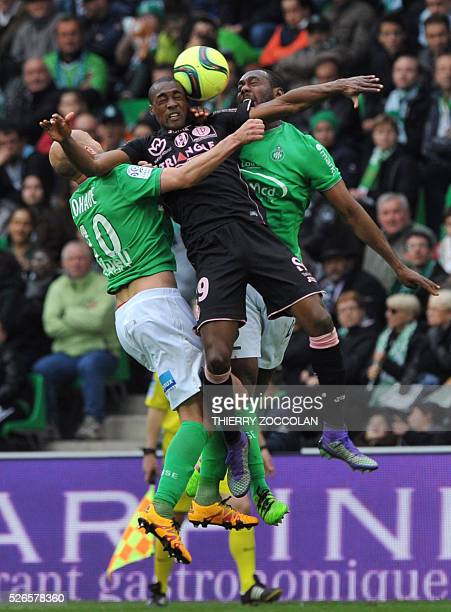 TOPSHOT Toulouse's Brazilian midfielder Somalia vies with SaintEtienne's players during the French L1 football match between Saint Etienne and...