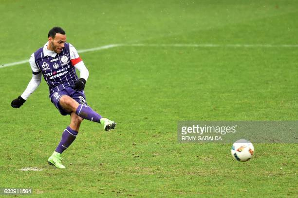 Toulouse's captain Martin Braithwaite scores a penalty goal during the French L1 football match between Toulouse and Angers on February 5 2017 at the...
