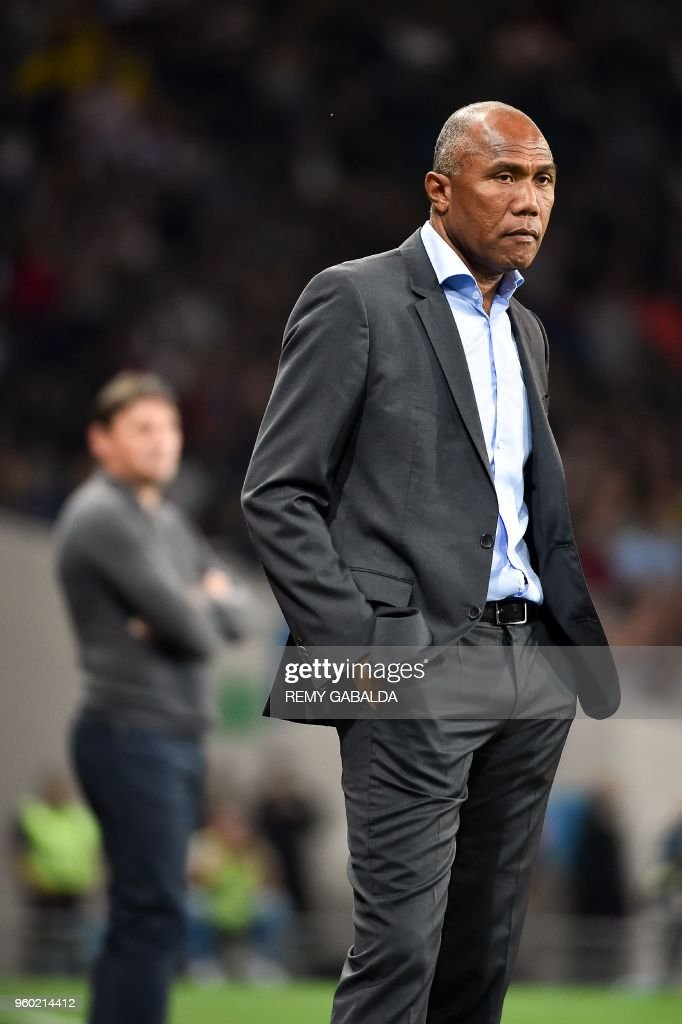 Toulouse's coach Michael Debeve (R) is seen next to Guingamp coach Antoine kamboire (L) during the French L1 match between Toulouse and Guingamp on may 19, 2018, at the Municipal Stadium in Toulouse, southern France.