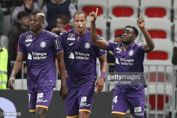 Toulouse's Congolese forward Firmin Mubele celebrates after scoring a goal during the French L1 football match between Nice and Toulouse on March 15,...