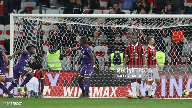 Toulouse's Congolese forward Firmin Mubele scores a goal during the French L1 football match between Nice and Toulouse on March 15, 2019 at the...