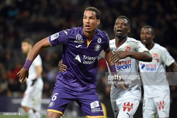 Toulouse's defender Julien Christopher reacts during the French L1 football match between Toulouse and Amiens on November 10 at the municipal stadium...