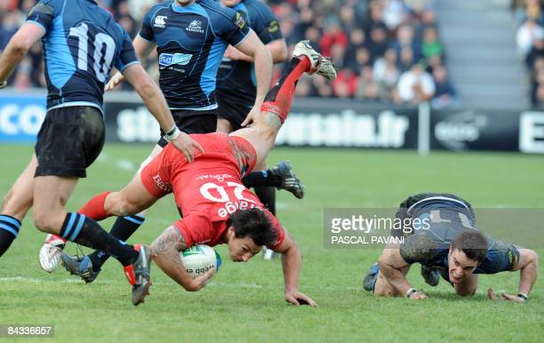 Toulouse's flyhalf Byron Kellher collapses with Glasgow winger Thom Evans during their European Cup rugby match Toulouse versus Glasgow on January 17...