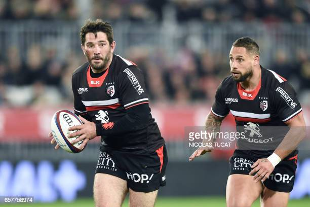 Toulouse's French centre Florian Fritz runs with the ball during the French Top 14 rugby union match between BordeauxBegles and Toulouse on March 25...