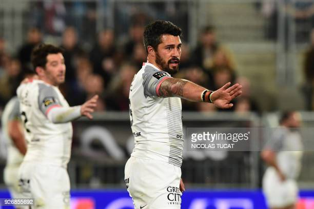 Toulouse's French centre Yann David gestures during the French Top 14 rugby union match between BordeauxBegles and Toulouse on March 3 2018 at the...