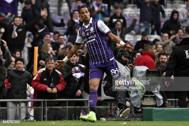 Toulouse's French defender Christopher Jullien reacts after scoring a goal during the French L1 football match Toulouse against Lille on March 05...