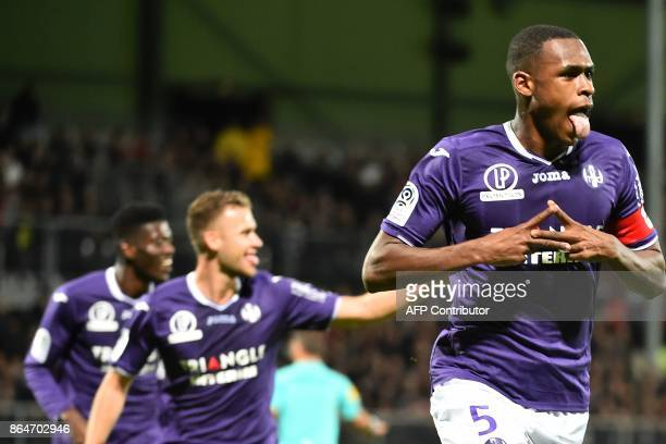 Toulouse's French defender Issa Diop celebrate after scoring a goal during the French L1 football match between Angers and Toulouse on October 21 at...