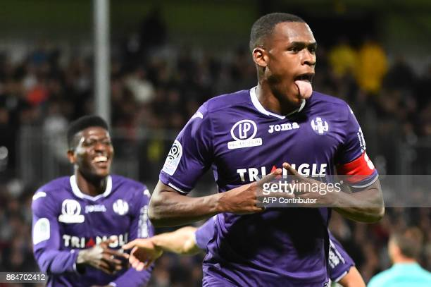 Toulouse's French defender Issa Diop reacts after scoring during the French L1 football match between Angers and Toulouse on October 21 in...