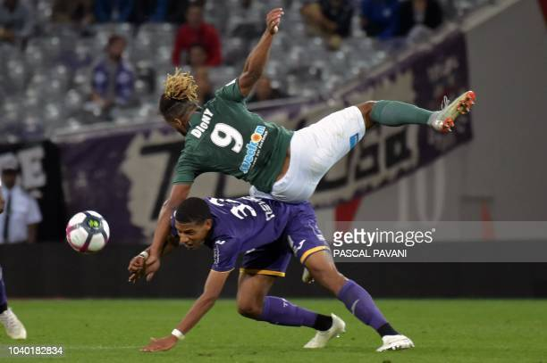 Toulouse's French defender JeanClair Todibo vies with SaintEtienne's French forward Lois Diony during the French L1 football match between Toulouse...