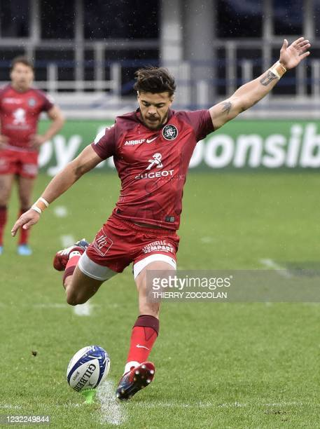 Toulouse's French fly-half Romain Ntamack takes a penalty kick during the European Champions Cup quarter-final rugby union match between ASM Clermont...