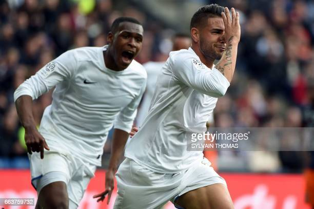 CORRECTION Toulouse's french forward Andy Delort celebrates after scoring a goal during the French L1 football match between between Montpellier and...