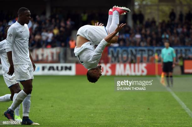 TOPSHOT CORRECTION Toulouse's french forward Andy Delort celebrates after scoring a goal during the French L1 football match between between...
