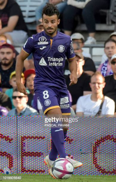 Toulouse's French forward Corentin Jean runs with the ball during the French L1 football match between Toulouse and Bordeaux on August 19 2018 at the...