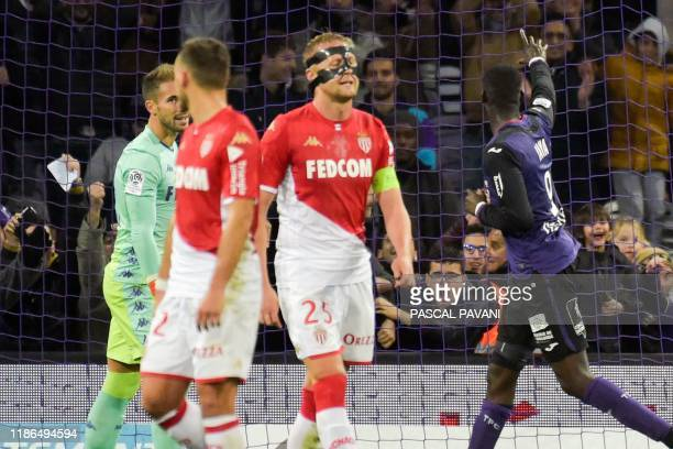 Toulouse's French forward Yaya Sanogo celebrates after scoring a goal during the French L1 football match between Toulouse and Monaco on December 4...