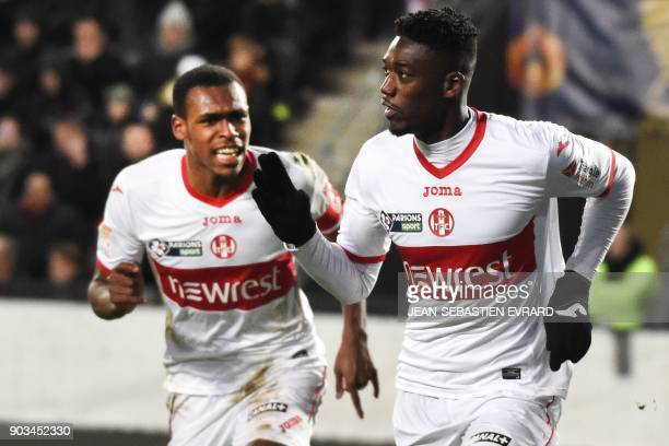 Toulouse's French forward Yaya Sanogo celebrates after scoring a goal during the French League Cup football match between Rennes and Toulouse on...