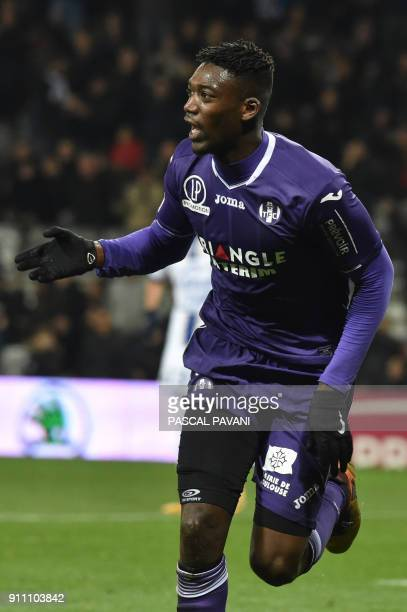 Toulouse's French forward Yaya Sanogo celebrates after scoring a goal during the French L1 football match Toulouse vs Troyes on January 27 2018 at...