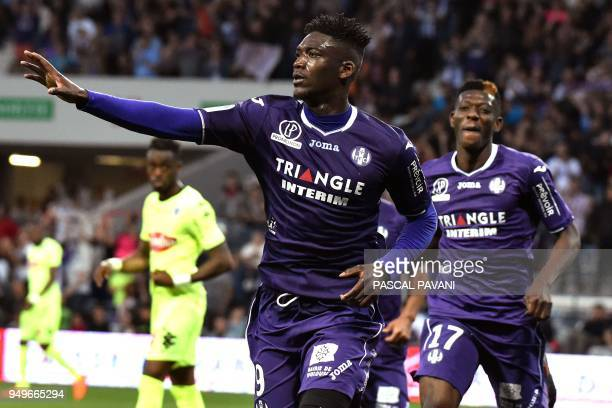 Toulouse's French forward Yaya Sanogo celebrates after scoring a goal during the French L1 football match Toulouse against Angers April 21 2018 at...