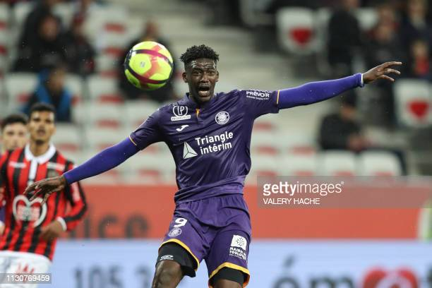 """Toulouse's French forward Yaya Sanogo reacts during the French L1 football match between Nice and Toulouse on March 15, 2019 at the """"Allianz Riviera""""..."""