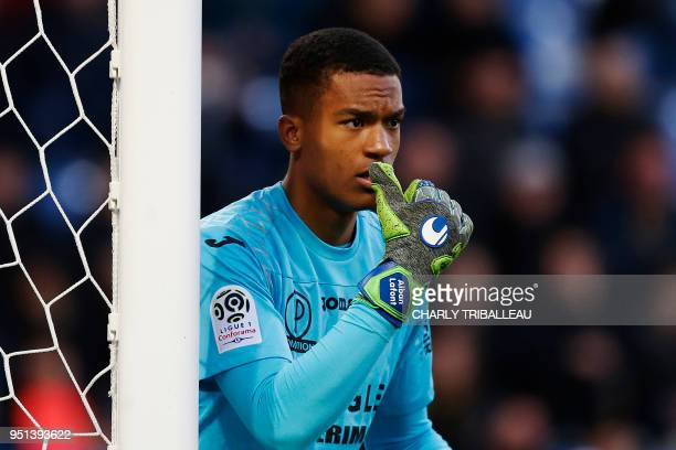 Toulouse's French goalkeeper Alban Lafont looks on during the French L1 football match between Caen and Toulouse on April 25 at the Michel d'Ornano...