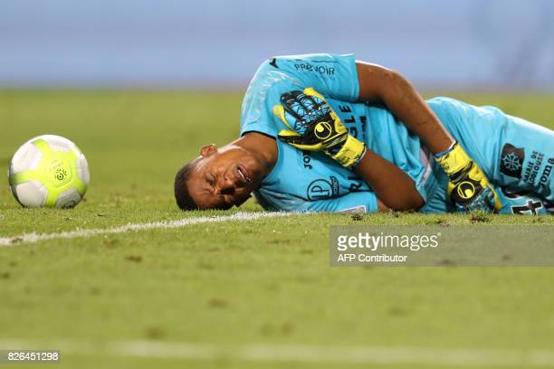 TOPSHOT Toulouse's French goalkeeper Alban Lafont reacts during the French L1 football match between Monaco and Toulouse at Louis II Stadium in...
