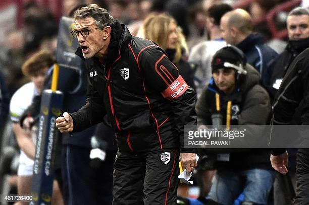 Toulouse's French head coach Guy Noves gestures during the European Rugby Union Champions Cup match between Toulouse and Bath on January 18 at the...